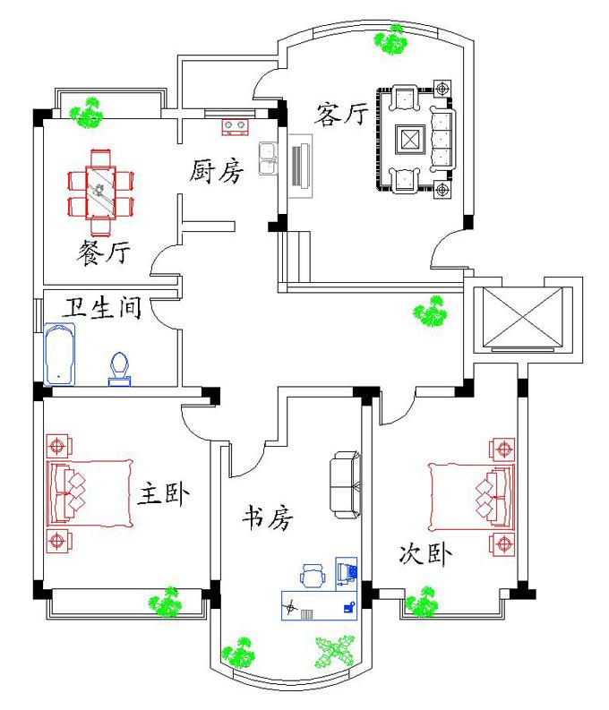 cad家装平面图之二_南通联想电脑培训学校新闻动态